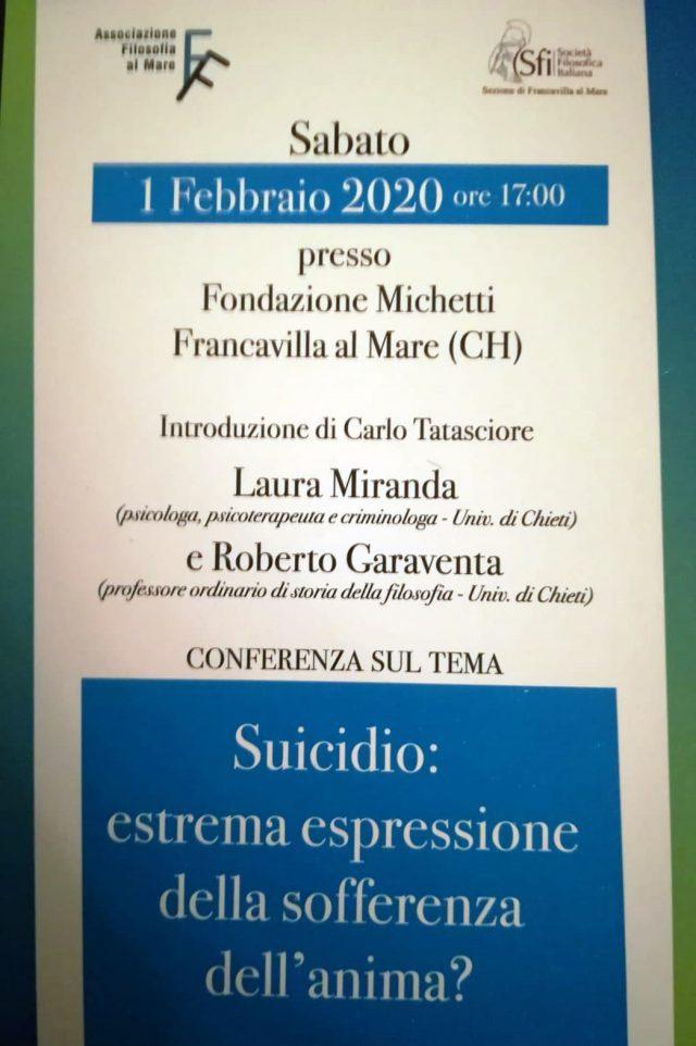 """Sabato 1 Febbraio - Conferenza sul tema: """"Suicidio: estrema espressione della sofferenza dell'anima?"""""""