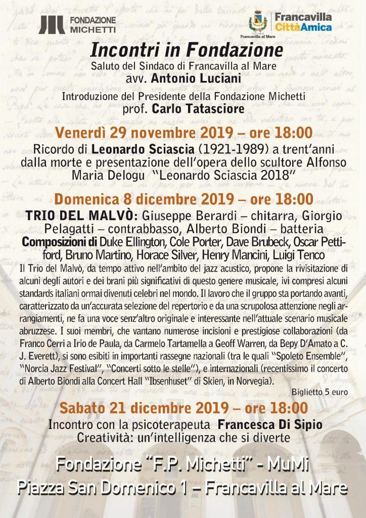 Incontro in Fondazione - Novembre-Dicembre 2019