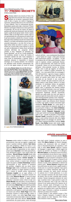 71° Premio Michetti di Maria Letizia Paiato – Segno n.278 Ottobre-Novembre 2020